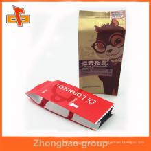 Guangzhou OEM laminiert Material Heißsiegel benutzerdefinierte gedruckte Kraft Seite Zwickel Kaffeebeutel