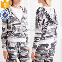 Camouflage Imprimer Stretch Jersey à capuchon Top OEM / ODM Fabrication En Gros Mode Femmes Vêtements (TA7023H)