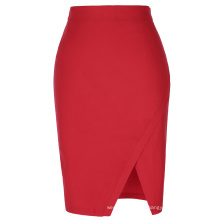 Kate Kasin Women's High Waist High Stretchy Irregular Hem Hips-Wrapped Summer Short Red Skirt KK000287-2