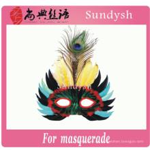 diseño simple venta al por mayor divertida del cumpleaños de media cara partido de la pluma máscaras de disfraces a granel