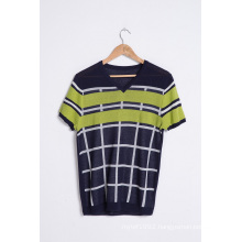 Custom Summer V-Neck Striped Knit Short Sleeve Men Knitwear