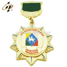 Cheap high quality metal custom made enamel souvenir medallion with ribbon