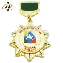 Cheap high quality metal custom made enamel souvenir medallion with ribbon