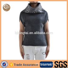 High collar short sleeve knitted 100% wool sweater