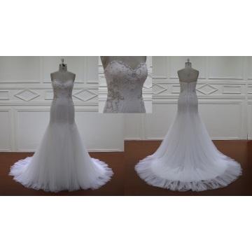 Crystal Beaded Zipper Back Wedding Dress