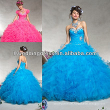 HQ2052 Pink panther ruffled beaded top sweetheart neck strapless sleeveless pleated tulle ananda wedding dress 2013 ball gown