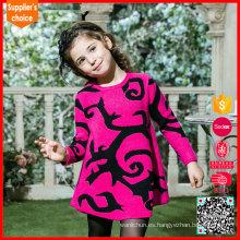 Nuevo diseño de manga larga niños chicas jersey suéter rojo de cachemira