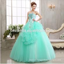 Vintage vestido de bola de los vestidos de novia de hombro Cenicienta vestido de rendimiento azul claro para los vestidos de noche de las niñas 2017