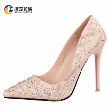 Korean version of the fashionable sweet and elegant high-heeled mouth was thin pointed diamond drill shoes