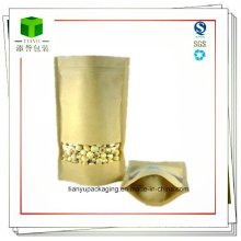 Kraft Paper Bag with Window, Stand up Zipper Food Bag