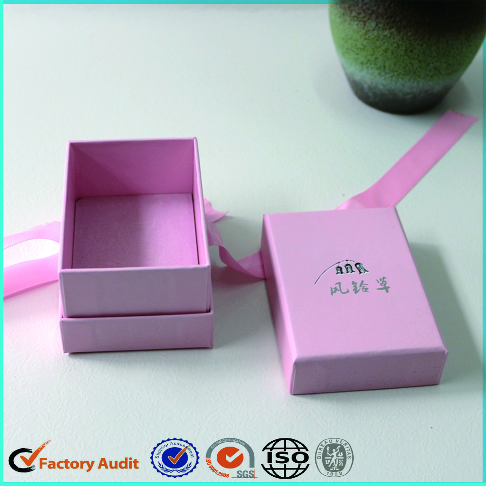 Paper Fancy Pink Ring Gift Boxes With Ribbon
