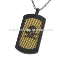 Vente en gros Pendentif plaqué noir pendentif en acier inoxydable Colliers pendentifs bijoux avec chaîne de mode