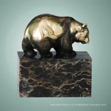 Статуя животных Panda Прогулка Бронзовая скульптура Tpal-303