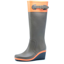Brown And Orange Wedge Heel Rubber Rain Boots