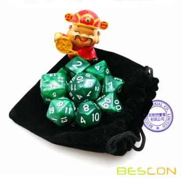 Set of 9pcs Polyhedral Dice Die D30 D24 D20 D12 D10 D8 D6 D4 Game Dice Set Dungeons and Dragons DND MTG RPG Dice Marble Green