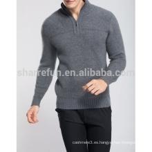al por mayor invierno cálido medio zip 100% puro jersey de cachemira de los hombres