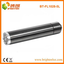 Fábrica de Venda a Granel Material de alumínio Luz branca Bolso 5 levou Mini Lanterna Com 1 * AA Bateria