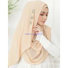 Custom Printing Chiffon Pr Satin OEM Custom Crystal Stones Muslim Scarf Hijab