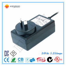 UK plug power supply 24v 1.25a ac dc adapter 100-240v 50-60hz
