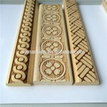 Moulure en bois blanc moulé en bois décoratif avec moulure en bois en relief