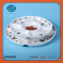 Navidad, plato de servicio personalizado con calcomanía, placa de cerámica para el restaurante de casa