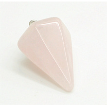 6 side coin Shape Rose Quartz pendant