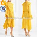 Assimétrica Ruffled manga comprida amarela Midi Summer Daily Dress Fabricação Atacado Moda Feminina Vestuário (TA0022D)