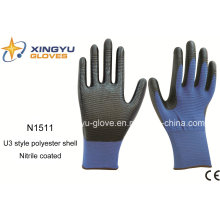 U3 Polyester Shell Nitrile Coated Safety Work Gloves (N1511)