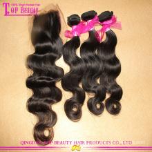 Pacotes peruanos do cabelo do Virgin com o fornecedor de China do fechamento do laço