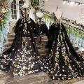 LS00134 elegant luxury black girls sexy night dress photos little black girl child dress