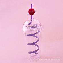 Copo de plástico de 480 ml com tampa e palha, copo de plástico com palha, copo de palha