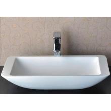 Ручная стирка Современный дизайн Белая ванная мраморная раковина (BS-8324)