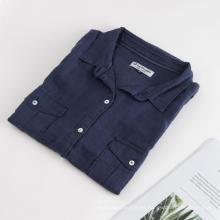 Blusa de camisa de manga corta de lino 100% primavera para mujer