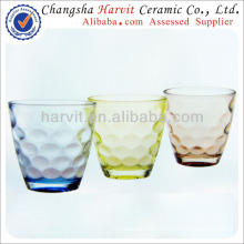 2014 Wholesale Glass Tea Cups / China Housewares Colored Embossed Glass Tumblers / Shot Glass Tea Cup