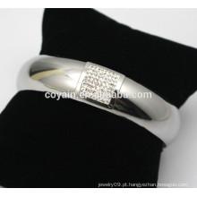 Strass pulseira braceletes jóias de prata brilhante aço strass pulseira