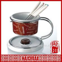 Queimador de fondue cerâmico, conjunto de fondue de chocolate cerâmico