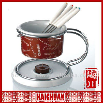 Ceramic fondue burner, ceramic chocolate fondue set