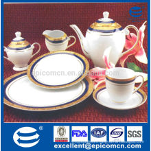 Made in China fine bone china gold plated dinner service set
