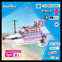 Oferta especial! Shantou chenghai brinquedos base fábrica diy crianças plástico bloco praia barco