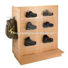 Loja de roupas Custom T-Shaped Free Stand de exibição de varejo Cherry Wood Slatwall Gondola