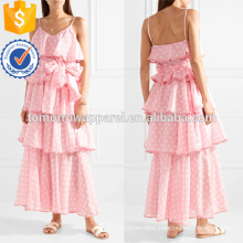 Pink And White Spaghetti Strap Tiered Polka-Dot Cotton Maxi Summer Dress Manufacture Wholesale Fashion Women Apparel (TA0251D)