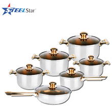 High Quality cooking pots 12pcs stainless steel cookware set