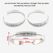 Aço inoxidável Cuff Moda Jóias Engeaved personalizado pulseira para as Mulheres