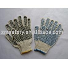 Dupla palma PVC pontos algodão luvas ZMA36
