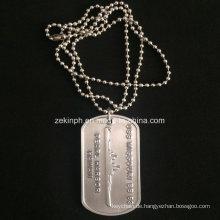 Benutzerdefinierte glänzend Silber Aluminium Dog Tag für uns Army Collection