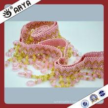 Frange à perles roses romantique À la main Décoration en perles Bordure à rayures pour abat-jour