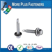 """Taiwan # 10-16 x 1-1 / 2 """"Hex Unslotted Hex Washer Cabeça Epoxy # 3 410 Stainless Steel Bonded Sealing Washer Self-Drilling Screw"""