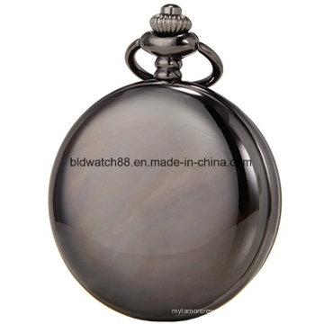 Mens Black mechanische Hand Wind Taschenuhr große Größe