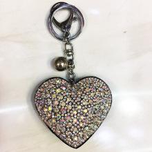 गेंद के साथ स्फटिक क्रिस्टल दिल चाबी का गुच्छा मखमल कुंजी अंगूठी