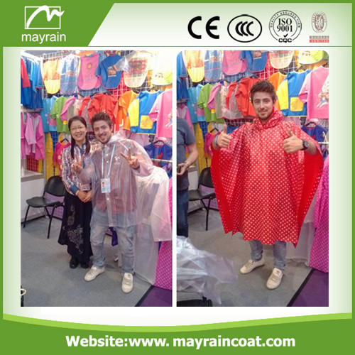 PE Adult Raincoat with Printing